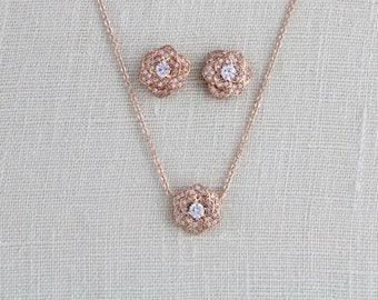 Rose gold necklace, Bridesmaid necklace, Bridal jewelry, Crystal necklace, Dainty Bridal necklace, CZ necklace, Wedding jewelry, BELLA