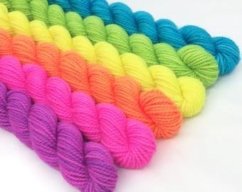 NEON Blacklight Hand-dyed Sock Yarn Mini Skein Set 6x10g  240yds