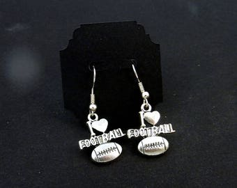 I Love Football Dangle Earrings.   For Pierced Ears.