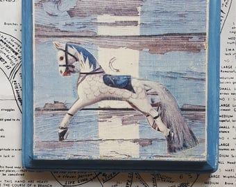 Moon, Horse, Toy, Antique, Stripes, Blue, White, Paint, 5 x 5, Square, Original, Mixed Media, Miniature, Affordable, Art