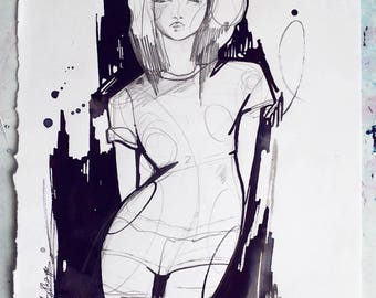 Untitled // ORIGINAL pencil and ink sketch / fashion drawing
