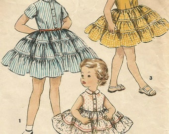 Vintage 50s Simplicity 1071 Childs Tiered Ruffled Dress Sewing Pattern Size 6