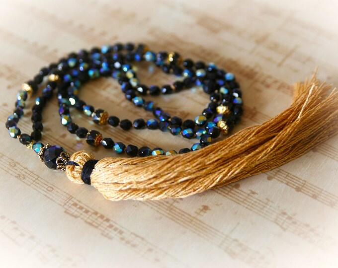 Boho Bling Tassel Necklace. Jet Black Crystals & Metallic Gold Tassel. Long Bohemian Glam Necklace. Boho Chic Jewelry
