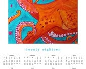 2018 POSTER Calendar ---  OCTOPUS--- 100 % Recycled Paper