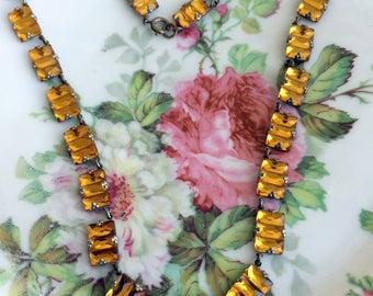 Antique Amber Gold Czech Art Deco Vauxhall Mirror Glass Stepped Necklace