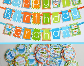 Under the Sea Birthday Party Decorations Package Fully Assembled | Whale Shark Turtle Fish Party | Under the Sea Theme | Aqua Orange Green