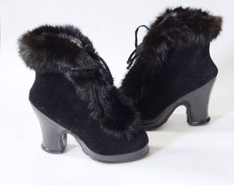 1940s Black Gaytees Rabbit Fur Galoshes - 6