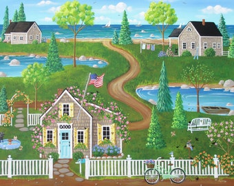 Nantucket Summer ORIGINAL Seascape Beach Cottage Flowers Trees Birds PAINTING by Kim Leo