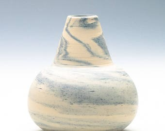 Small Swirly White/Blue Blended Clay Vase