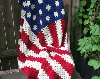 Handmade / Crochet Red, White, and Blue American Flag Afghan / Throw / Americana