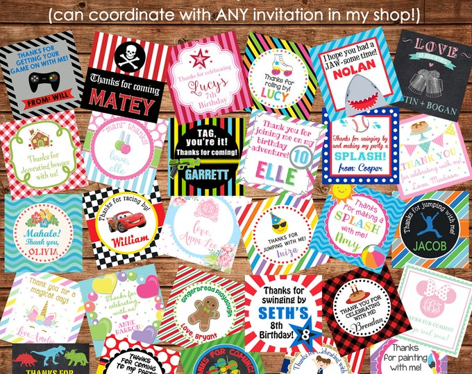 24 Girl or Boy Square Party Favor Tags Cards or Gift Stickers - Made to match ANY of my invitations