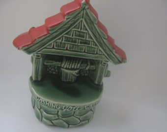 Vintage Planter McCoy Wishing Well Green Ceramic Vase Get Well Gift