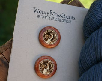 2 Cameo Lady Buttons- Yellow Cedar Wood- Wooden Buttons- Eco Craft Supplies, Eco Knitting Supplies, Eco Sewing Supplies