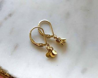 Tiny Gold Earrings, Small Dangle Earrings, Dainty Delicate Petite Yoga Jewelry, Teeny Tiny Earrings, Gold Leverback Earrings Gift for Her