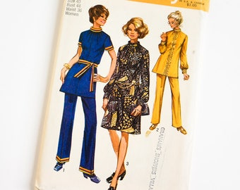 Vintage 1970s Womens Size 40 Dress or Tunic and Pants Simplicity Sewing Pattern 9085 FACTORY Folds / b44 w36