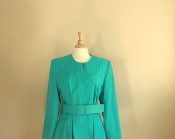 Vintage TURQUOISE Blazer Shirt With BELT / 80s ARGENTI Button Up Blouse / Womens Size Large