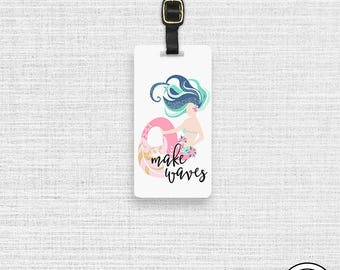 Luggage Tag Mermaid Make Waves Metal Luggage Tag with Custom Info On Back  Single Tag