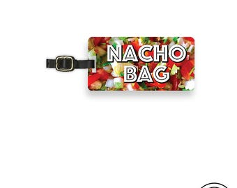 Luggage Tag Nacho Bag Funny Food Metal Luggage Tag  With Printed Custom Info On Back, Single Tag