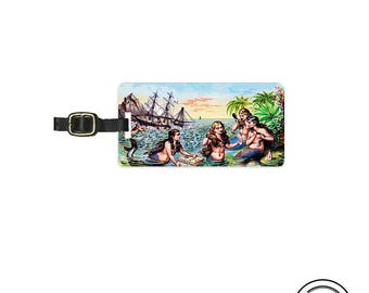 Luggage Tag  Vintage Mermaid Pointillism Ephemera Art Metal Luggage Tag  With Custom Info On Back , Single Tag