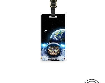 Luggage Tag Astro Cat in Space ,  Personalized Metal Tag , Single Tag   information on Backs Choice of Straps
