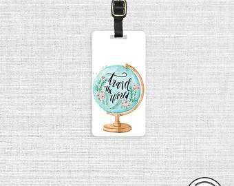 Luggage Tag Travel The World Watercolor Globe Metal Luggage Tag  With  Printed Custom Info On Back Single Tag