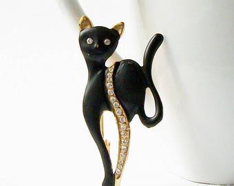 Vintage Black Cat Brooch, Black Cat Jewelry, Black Cat Pin
