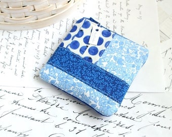 Coin Purse Blue Change Purse Patchwork Gift Card Holder Back to School Students