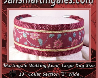 Jansmartingales,  Walking Lead, Dog Collar and Lead Combination, Greyhound, Large Dog Size, Bur116