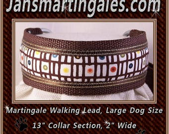 Jansmartingales,  Brown Walking Lead, Dog Collar and Lead Combination, Greyhound, Large Dog Size, brn121