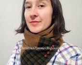Neckwarmer, Neck Warmer, Scarf, Upcycled Clothing, Eco, Tan Corduroy with Teal and Orange Plaid Fabric with Vintage Brown Buttons