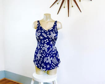 Robby Len Swimsuit, Onepiece Bathing Suit, one piece Swimsuit, Vintage Onepiece, Navy white Floral, Skirted swimsuit, onepiece swimmer, Sz L