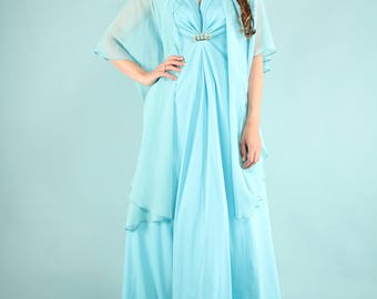 Vintage 1970s Maxi Party Dress Baby Blue Shawl Medium - Large