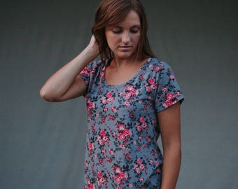 Womens Cotton Clothing T Shirt Tunic Short Sleeves Made in the USA - Made to Order - Everyday