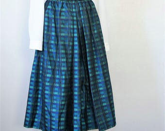 Vintage Skirt Blue Plaid Gathered Full Holiday Skirt Satiny Silk Blend Gypsy Skirt STAPF 27 Inch Waist - Size 40 (Austrian) Size 8 /10 (US)