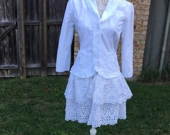 Altered White Jacket, Size Large, Shabby Chic Altered Jacket Eyelet Ruffled Trim,  Eco-Friendly Fringed Edges Jacket, BoHo, Cottage Chic