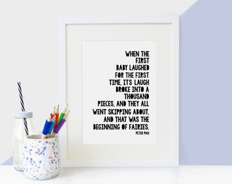 Peter Pan '...Beginning Of Fairies' Literary Quote Print - Monochrome Children's Print - Nursery Print - Nursery Decor - Children's Wall Art