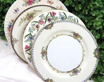 """4 Vintage Mismatched Noritake Fine China 8"""" Cake Plate Set, Dessert Side Salad Plates for Mix and Match, Ivory Floral SP60"""