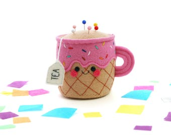 Strawberry Ice Cream Teacup Pincushion, Felt Pincushion, Limited Edition, Kawaii Sprinkles, British Tea
