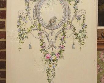Tableau original , toile ornementale dans le goût 18ème,  guirlande de roses, oiseau , pampilles © Hélène Flont Designs