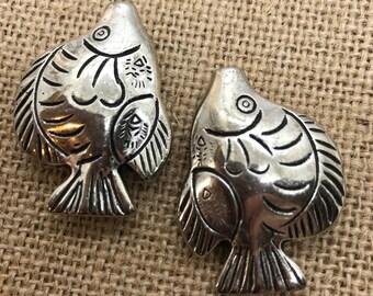 Fish or Turtle, Turtle, Fish Charms, Fish Pendants, Pair of Fish, Pewter Fish, Fish Pendant, Silver fish