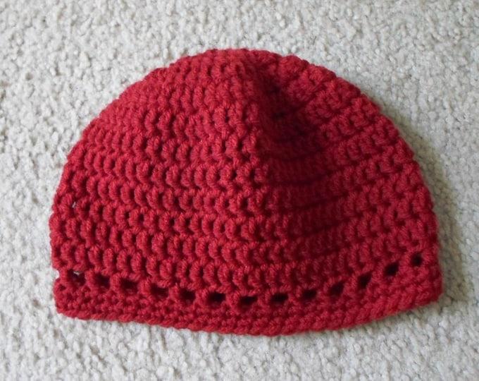 Crochet Hat - Crochet Cap in Dark Red