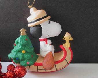 Snoopy Christmas Ornament * Snoopy And Woodstock In A Canoe * Cartoon Ornament
