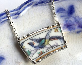 Broken china jewelry - broken china necklace - Haviland Limoges, bird of paradise, made from a broken plate, recycled, upcycled china