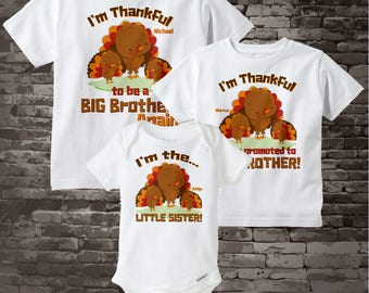 Thankful shirt set, Set of Three, Big Brother Again Shirt, Promoted to Big Brother, and Little Sister Shirt or Onesie 07292015b