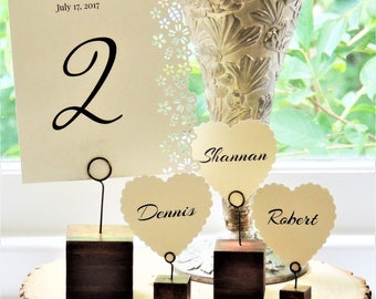 TABLE NUMBER HOLDER Wedding Wood Rustic Name Escort Card Holders Placecard Place Card Cube Table Decor Reception Decorations Seating Block