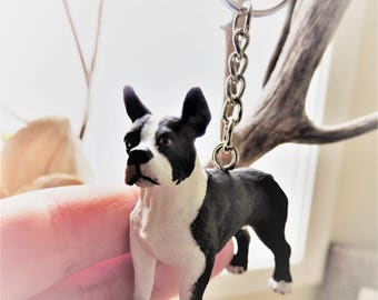KEYCHAIN Key Chain Boston Terrier Dog Key Ring Key Fob Animal Cute Fun Cool Unique Keychains Custom Key Chains For Women Gift Idea Toy