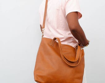 Leather tote bag classic leather tote diaper bag overall camel bag cognac leather bag carry all leather bag work bag