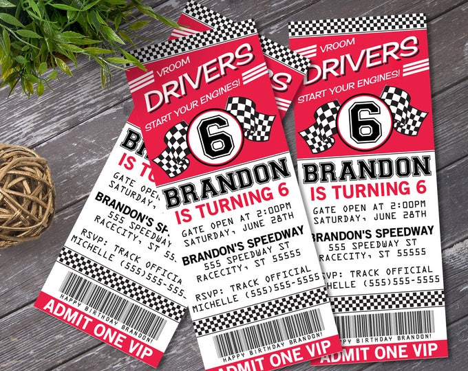 Cars Ticket Invitation - Cars Party, Race Car Party, Cars Invitation, Ticket Invitation | DIY Printable INSTANT Download PDF