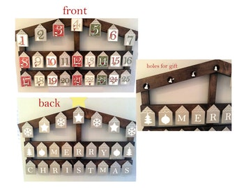 advent calendar, wood, Christmas advent, Christmas countdown, Christmas houses, wooden calendar, Christmas decor, house advent, unique