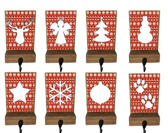 stocking holders, reclaimed wood, rustic Christmas, fair isle stocking, mantle decor, stocking hooks, pet stocking hook, stocking hanger
